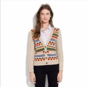Madewell Merino Wool Geometric Print Cardigan